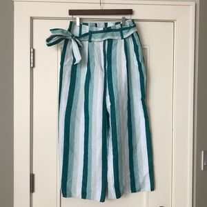 High waisted linen crop pant with belt tie J crew